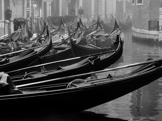 Gondola Basin in Fog, Venice, Italy
