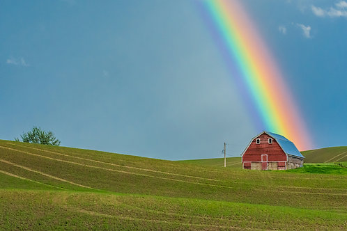 Rainbow and Red Barn, Palouse, Washington
