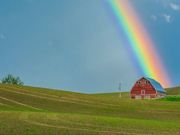 Rainbow and Red Barn, Palouse, Washington