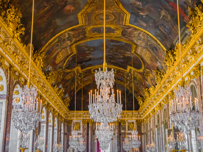 Ceiling and Chandeliers, Hall of Mirrors, Palace of Versailles, France