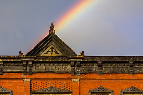 Rainbow Over Ellis Block Building, Colfax, Washington