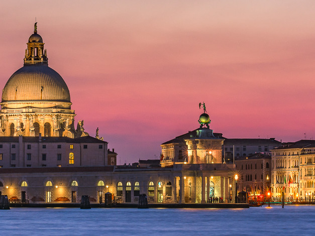 Sunset Panorama of Punta Della Dogana, Venice, Italy