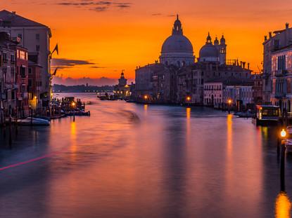 Santa Maria Della Salute and the Grand Canal at Sunrise, Venice, Italy