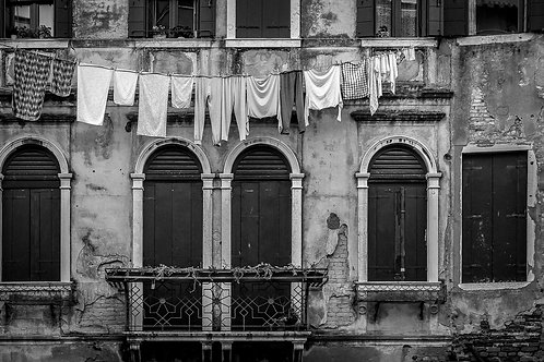 Clothes Line and Balcony, Venice, Italy