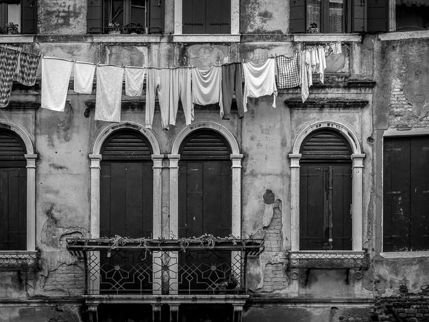 Clothes Line and Balcony, Venice, Italy