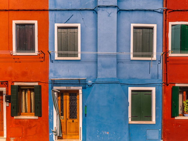 Red Blue Red, Burano Island, Venice, Italy