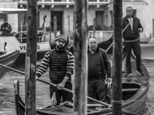 Venetian Boatmen on the Grand Canal, Venice, Italy