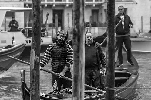 Venetian Boatmen on the Grand Canal, Italy
