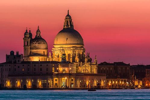 Santa Maria della Salute Basilica at Night, Venice