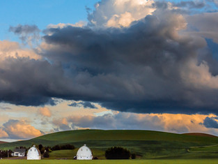 Storm Clouds and White Barns, Palouse, Washington