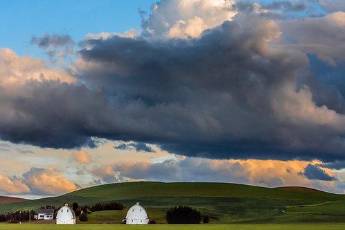 Storm Clouds and White Barns, Palouse, Washington