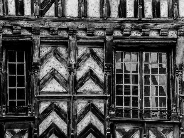 Half-Timbered House, Noyers-sur-Serein, Burgundy, France