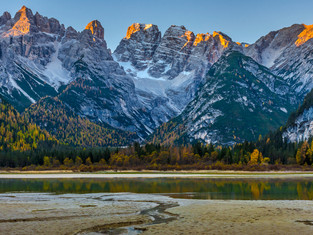 First Light on Mount Cristallo, Dolomites, Italy