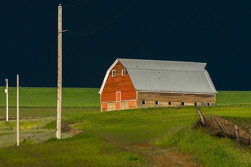 Dark Sky, Red Barn and Power Poles, Palouse, Washington