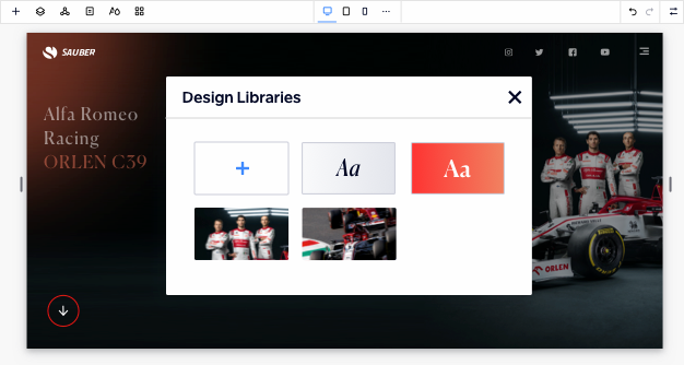 Image showing design libraries open on the editor over a website. There are 4 existing design libraries saved and the option to add a new one.