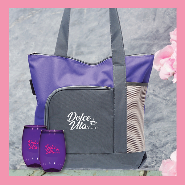 Go Getter Tote Bag and Two 15oz Stemless