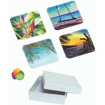 4pc Acrylic Coaster Set in Gift Box