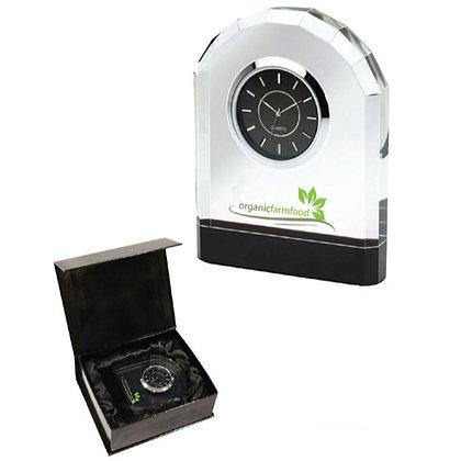 Crystal Desk Clock with Chrome Trim
