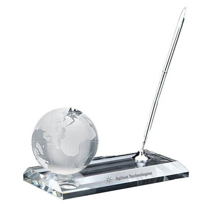 Crystal Globe Pen Stand Set