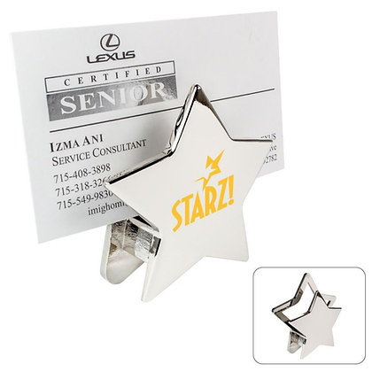 Chrome Metal Star Memo / Card Holder