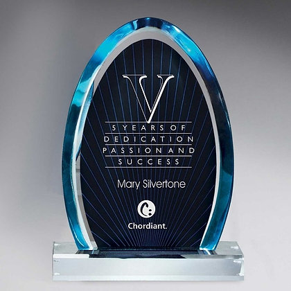 Blue Dynasty Award with Clear Lucite Base