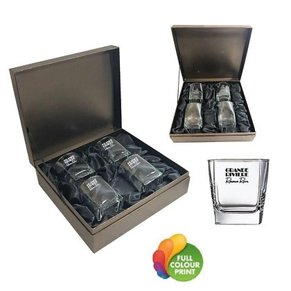 4pc Rocks Glasses Gift Set with Brass Plate