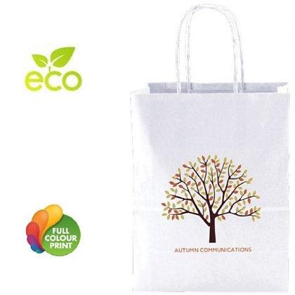 100% Recycled White Kraft Shopping Bag Medium