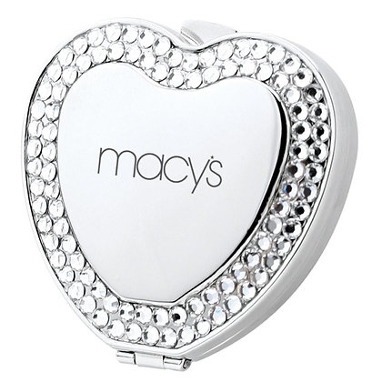 Metal Heart Shape Compact Mirror with Crystal Jewels