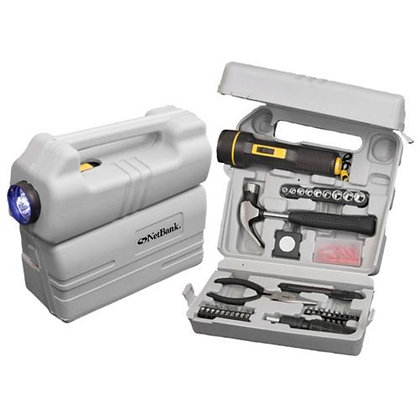 26-Piece Tool Set with LED Flashlight & Carrying Case