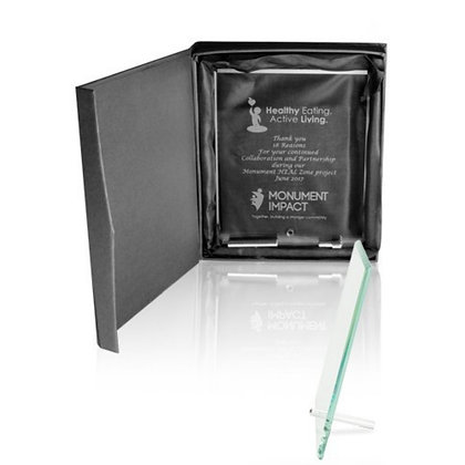 Large Jade Glass Plaque Awards With Stand