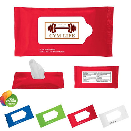 10pc Sanitizer Wet Wipes in Re-sealable Pouch