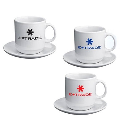 Set of White Coffee Cup and Coaster