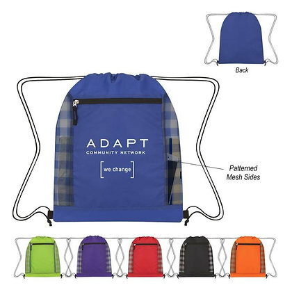 Checked Mesh Accent Drawstring Bag