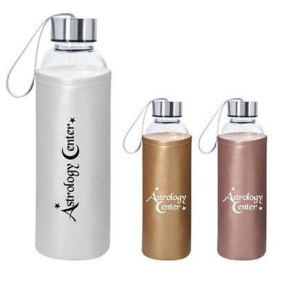 18oz Aqua Pure Glass Bottle with Metallic Sleeve
