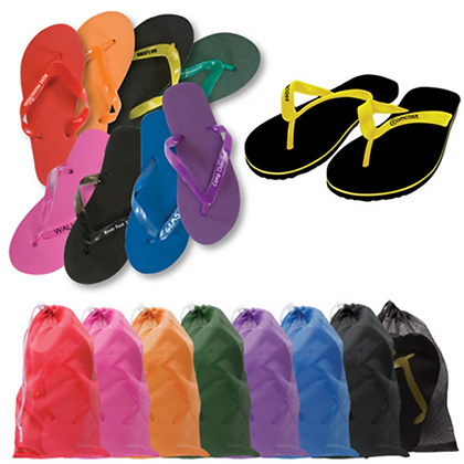Adult Flip Flops in Mesh Bag