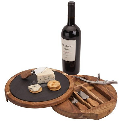 Normandy Swivel Base Cheese/Wine Set (Wine Not Included)
