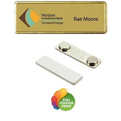 Gold Framed Name Badge with Magnetic Back