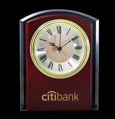 Wood Clock with Glass Trim