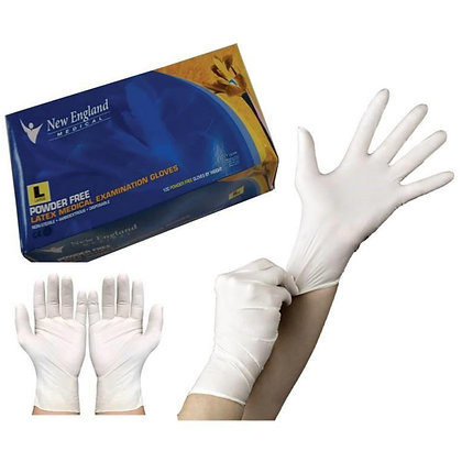 New England Powder Free Latex Gloves - Large
