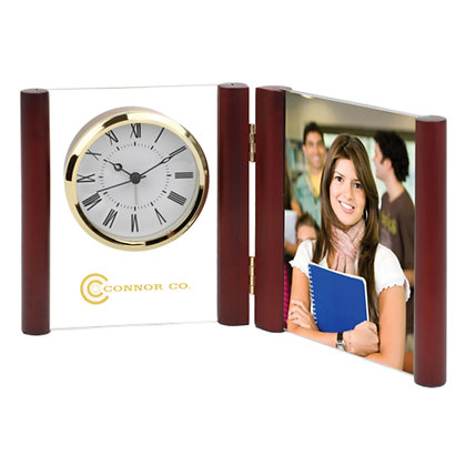 Glass Desk Alarm Book Clock Photo Frame