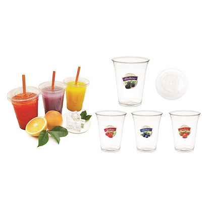 16oz Plastic  Disposable Cups with Lids