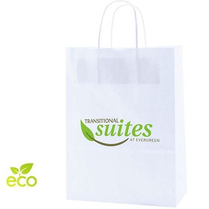100% Recycled White Kraft Shopping Bag - Large