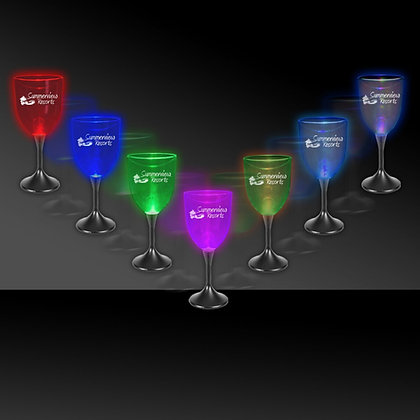 10oz Light Up Wine Glass with Black Stem and Clear Top