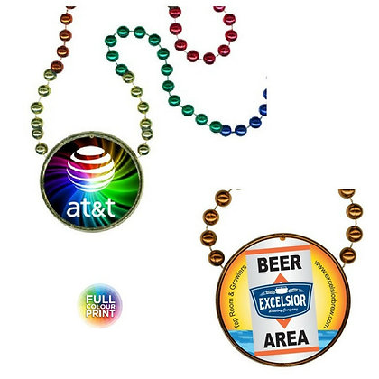 Rainbow or Single Coloured Mardi Gras Beads with Medallion