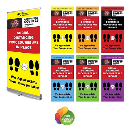 Full Colour Retractable Stands for Covid Related Notices