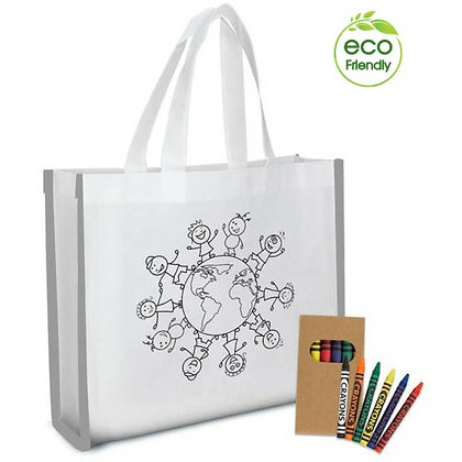 Reflective Colouring Tote Bag with Crayons