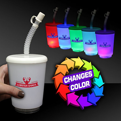12oz LED Cup with Lid and Straw