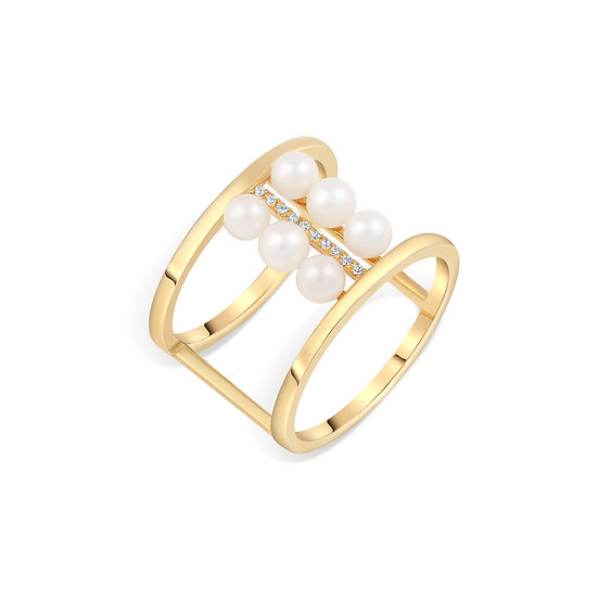 SEA SONG AKOYA PEARL DOUBLE RING IN YELLOW GOLD