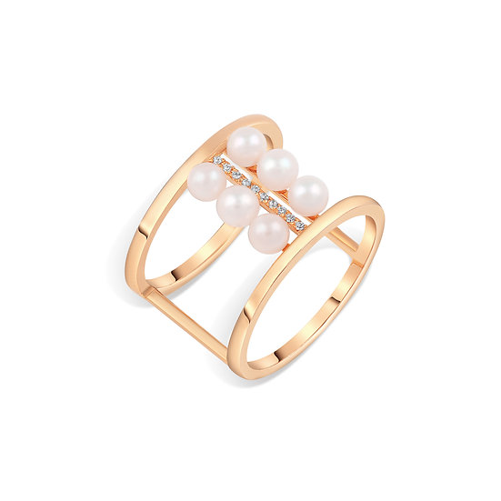 SEA SONG AKOYA PEARL RING IN ROSE GOLD
