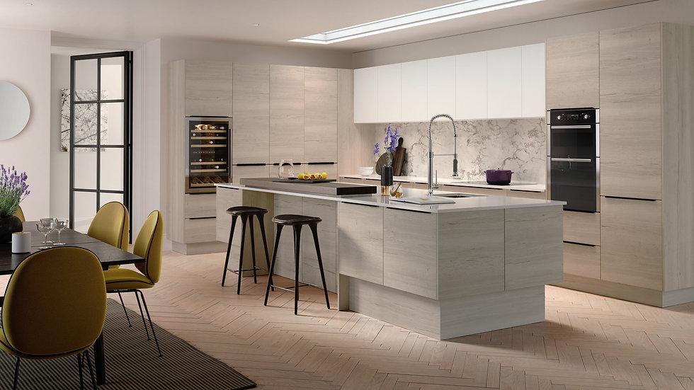 Mackintosh Linear White Oak Kitchen By Kuche & Bagno